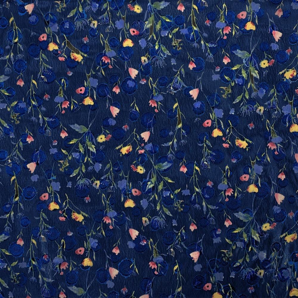 Chiffon Spot Jacquard Ditsy Floral Print Blue