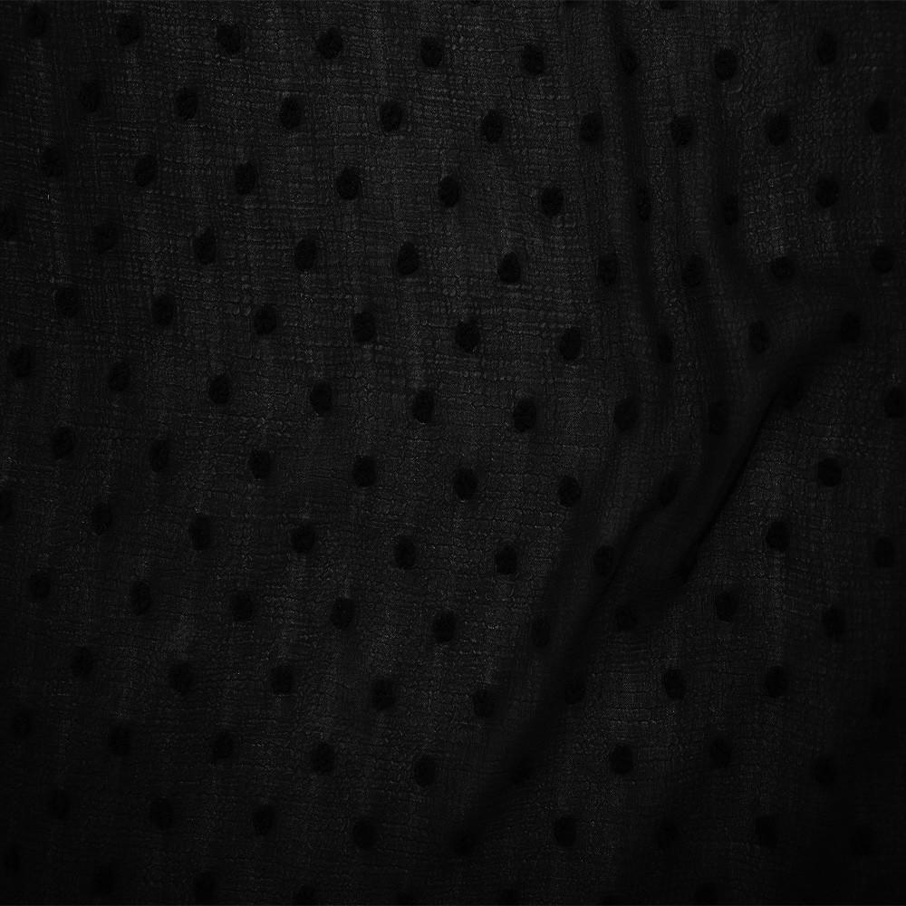 Crinkled Dobby Spot Chiffon Black
