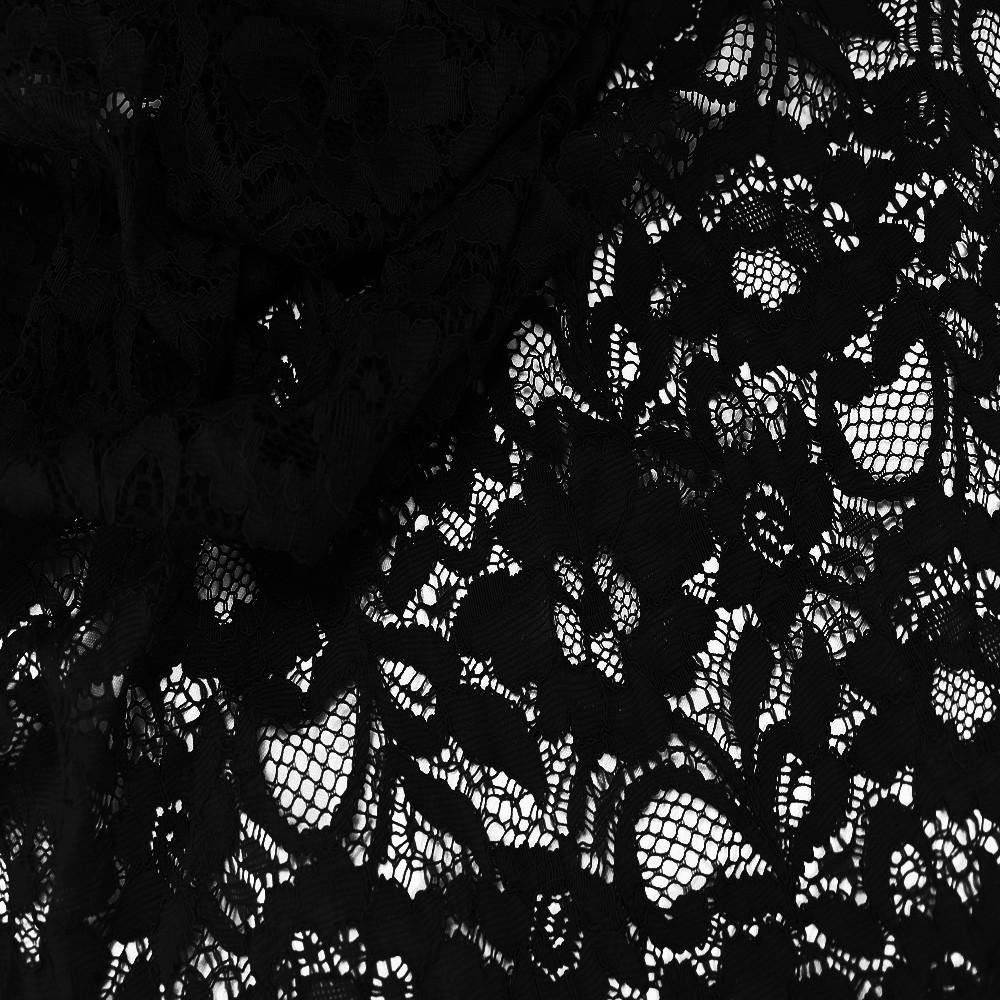 Floral Corded Lace Black