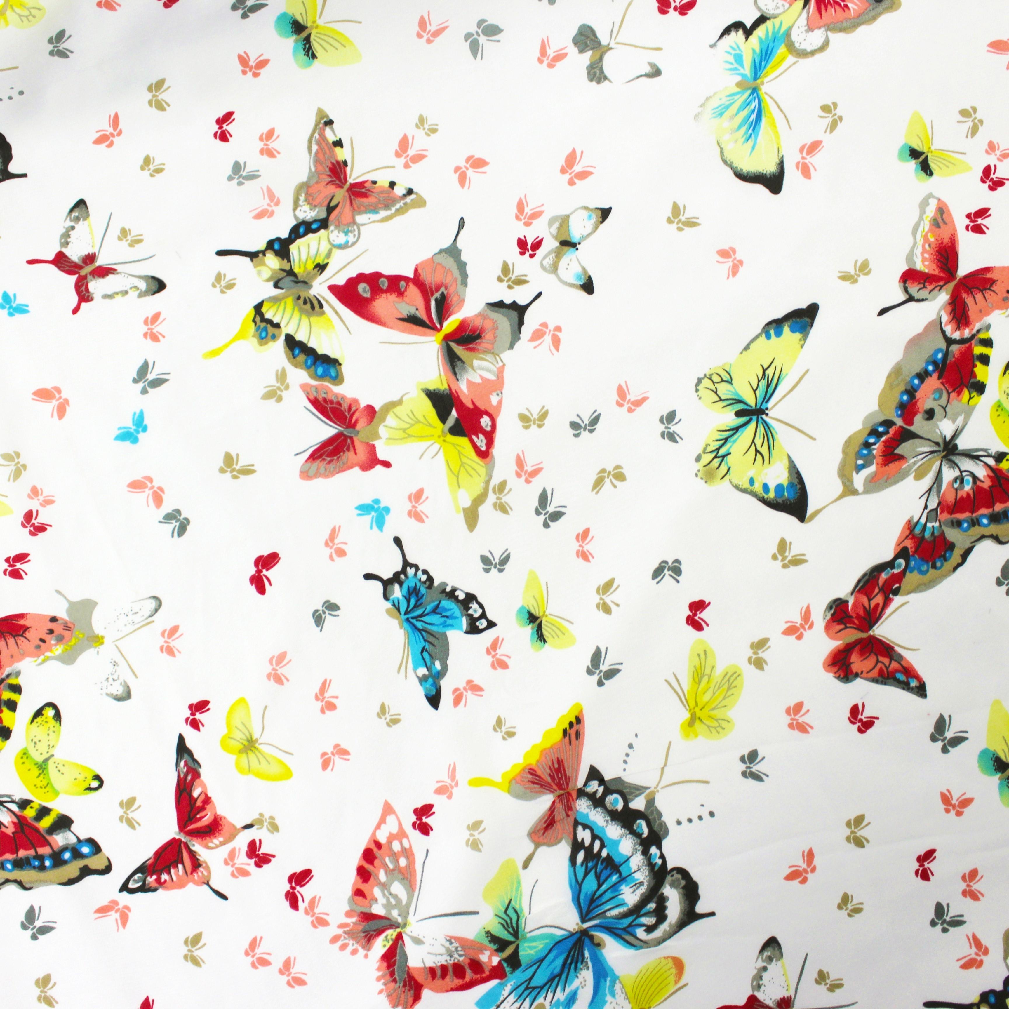 Hi Multi Chiffon Large Butterfly Print Ivory