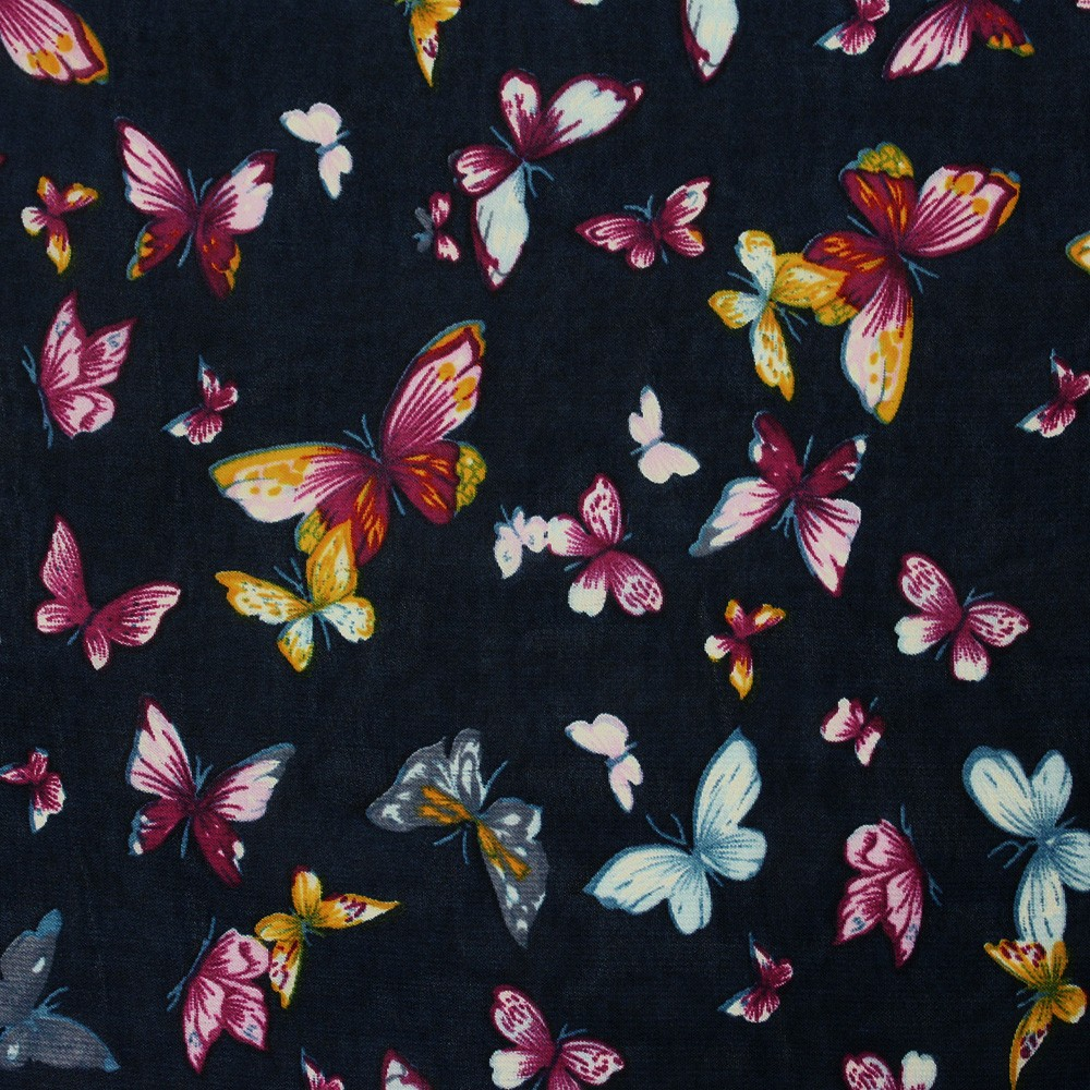 Hi Multi Chiffon Butterfly Print Navy