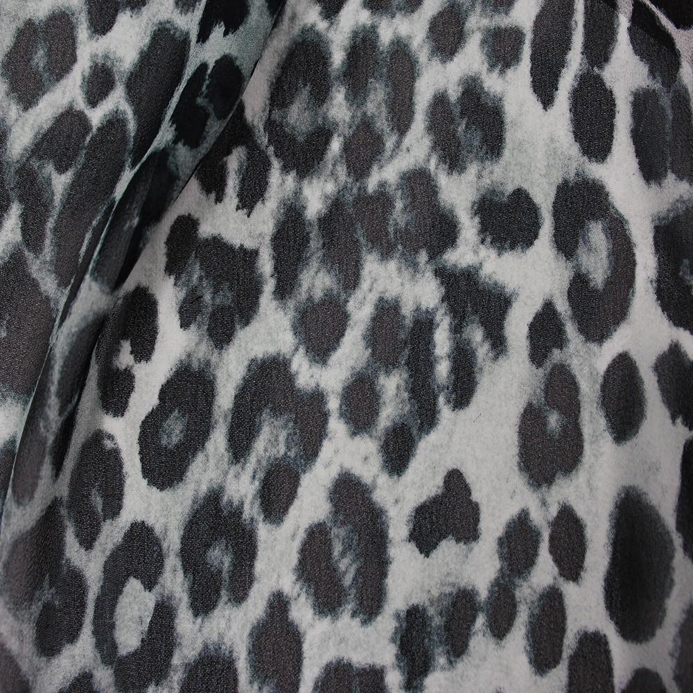 Hi Multi Chiffon Grey Leopard Print