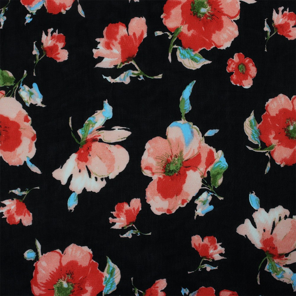 Hi Multi Chiffon Black Base Flowers