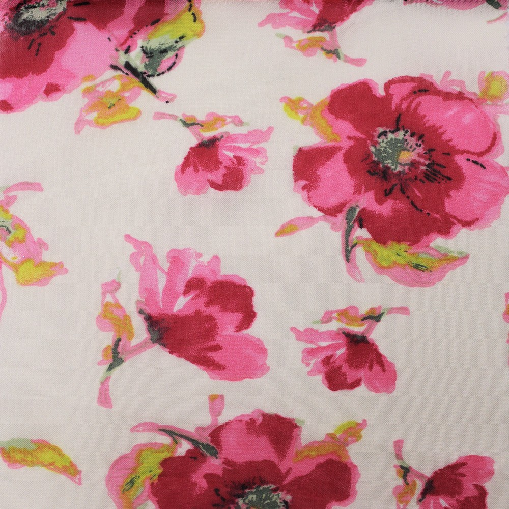 Hi Multi Chiffon Ivory Base Flowers