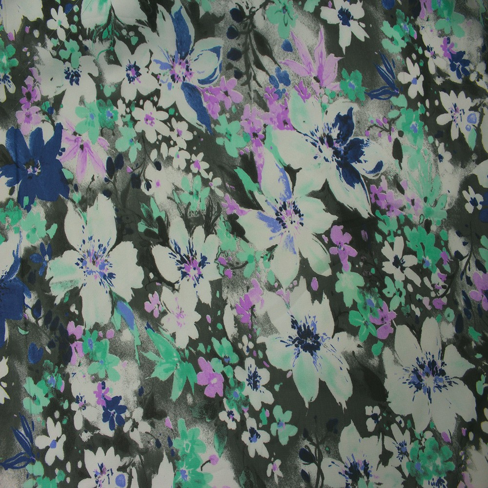 Hi Multi Chiffon Grey With Blue Purple Flowers