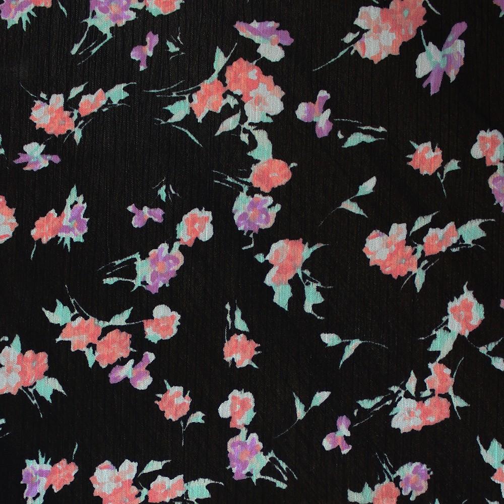 Korean Yoryu Printed Pink Purple Floral