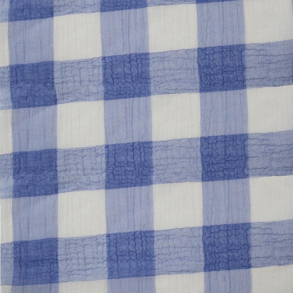 Large Check Chiffon Yoryu Blue White