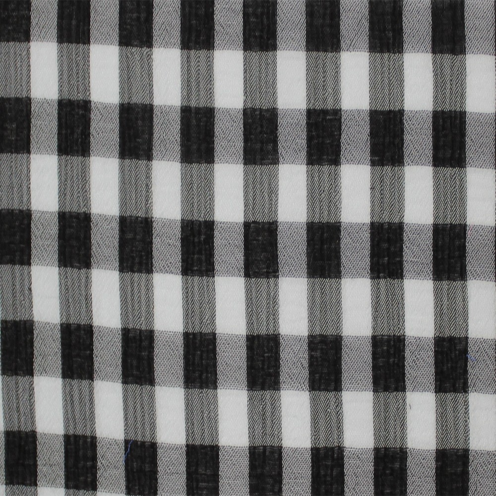 Medium Check Chiffon Yoryu Black White