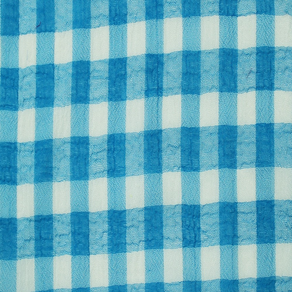 Medium Check Chiffon Yoryu Turquoise White