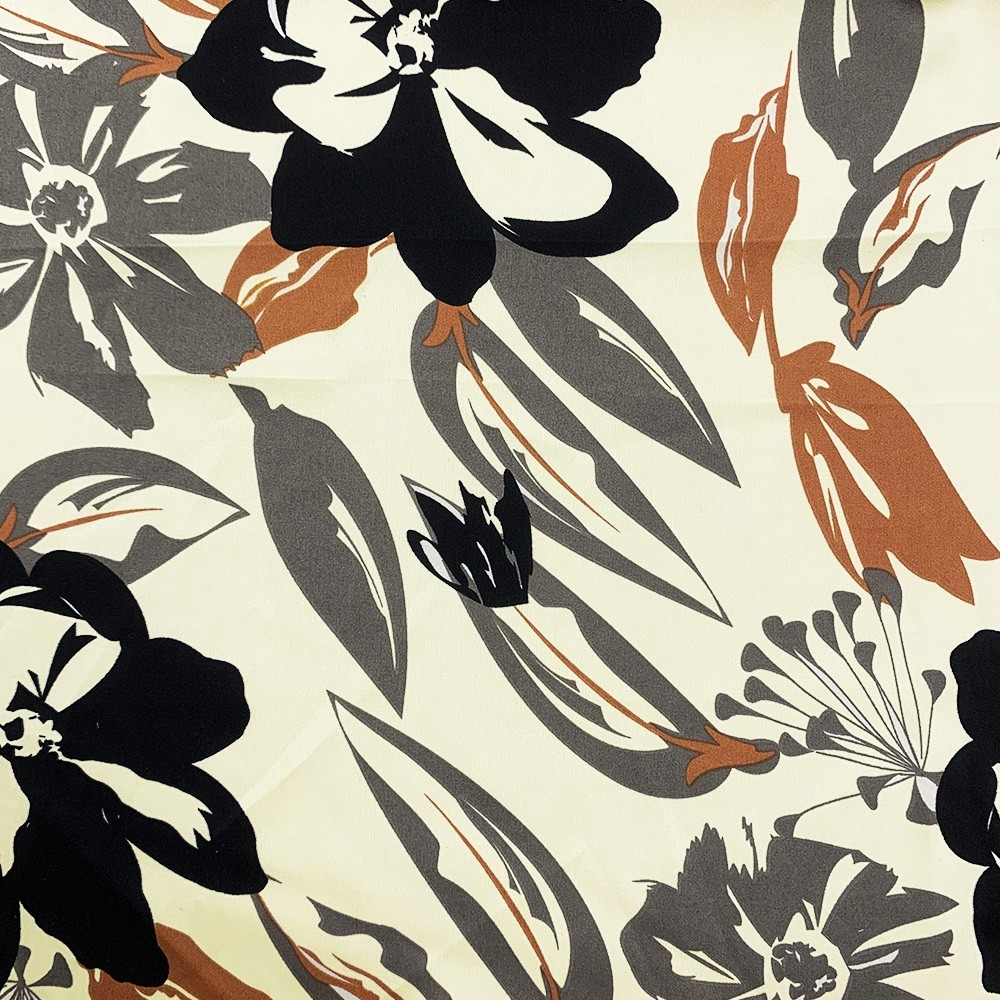 Silky Satin Floral Print Ivory Ground Floral