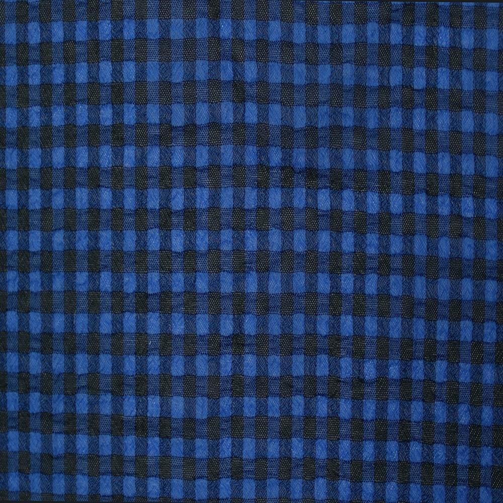 Small Check Chiffon Yoryu Blue Black