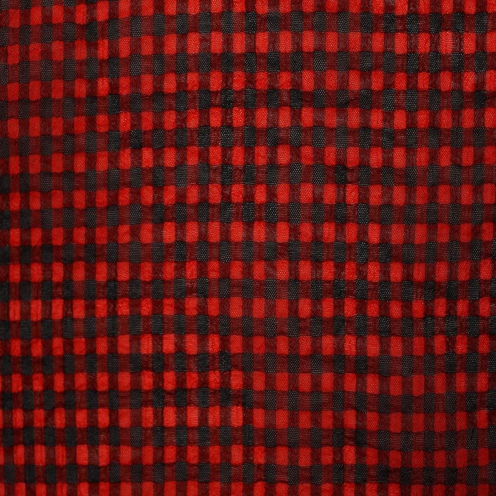Small Check Chiffon Yoryu Red Black
