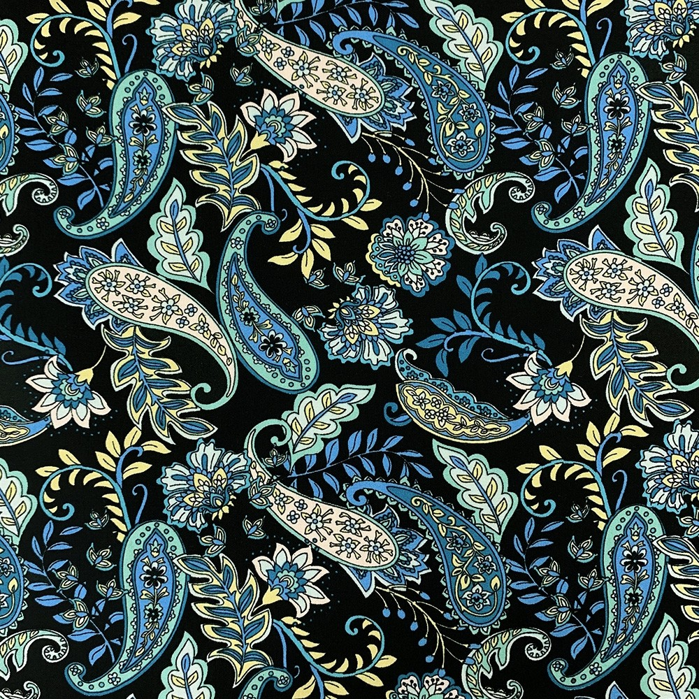 Spun Viscose Navy Paisley Print