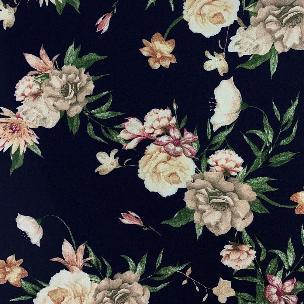 Spun Viscose Navy Floral Print