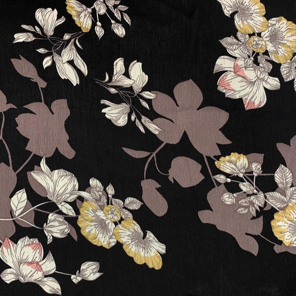 Velvet Satin Floral Print Black