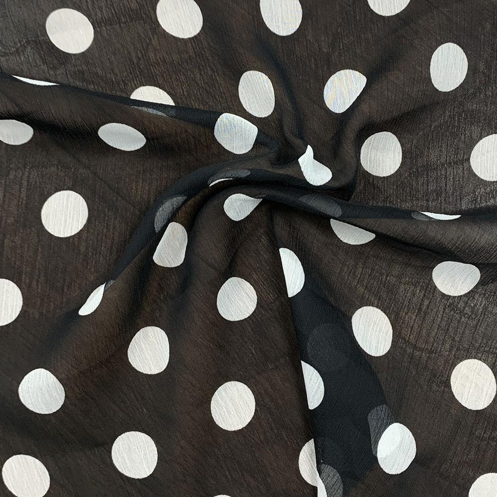 Yoryu Chiffon Mono Spot Print Black Base Ivory Spot