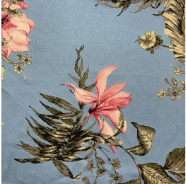 Atlas Satin Floral Print Blue Ground