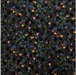 Chiffon Spot Jacquard Ditsy Floral Print Black