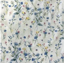 Chiffon Spot Jacquard Ditsy Floral Print Ivory