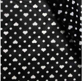 Hi Multi Chiffon Black Base Ivory Heart Spot
