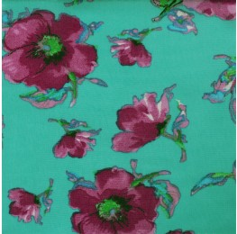 Hi Multi Chiffon Green Base Flowers