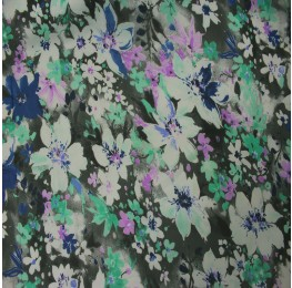 Hi Multi Chiffon Grey With Blue Purple Flowers