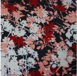 Hi Multi Chiffon Black Ivory Pink Red Floral