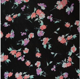 Korean Yoryu Printed Pink Purple Floral