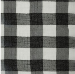 Large Check Chiffon Yoryu Black White