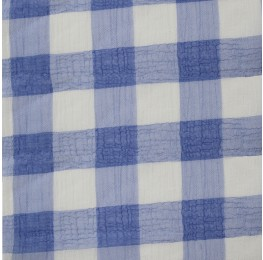 Large Check Chiffon Yoryu Blue White