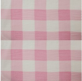 Large Check Chiffon Yoryu Pink White