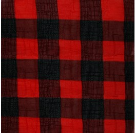 Large Check Chiffon Yoryu Red Black