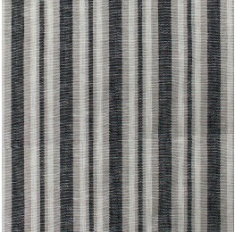Linen Block Stripe Black