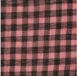 Medium Check Chiffon Yoryu Pink Black