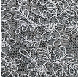Mesh Embroidery Corded Lace White