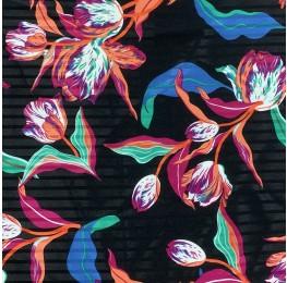 Powder Touch Stripe Print Black Ground Floral