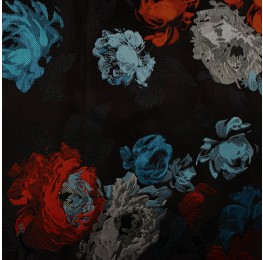 Multi Satin Jacquard Black Ground