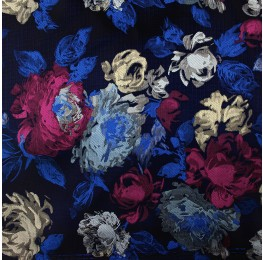 Multi Satin Jacquard Navy Ground