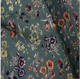 Silky Chiffon Duckegg Multi Floral Print