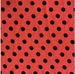 Silky Morrocain Print Coral Base Black Spot