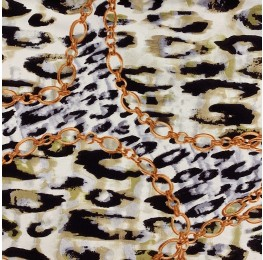 Silky Satin Animal Chain Print Copper Chain