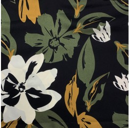 Silky Satin Floral Print Black Ground Floral