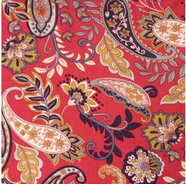 Spun Viscose Red Paisley Print