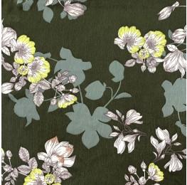 Velvet Satin Floral Print Khaki