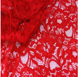 Floral Corded Lace Red
