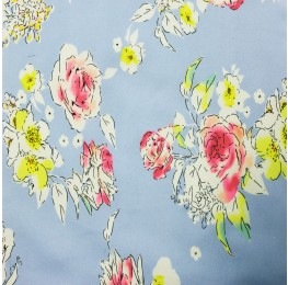 Superior Georgette Sky Blue Multi Floral Print